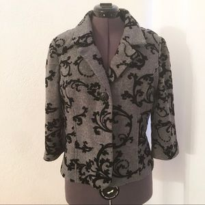 Coldwater Creek Wool & Velvet Scroll Blazer Jacket